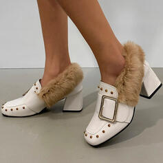 Women's PU Chunky Heel Pumps Pointed Toe With Buckle Faux-Fur shoes