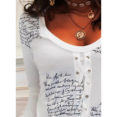 Print Lace-up Letter V-Neck Long Sleeves Casual T-shirts