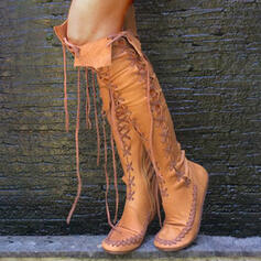 Women's PU Low Heel Boots Over The Knee Boots Round Toe With Lace-up Hollow-out Solid Color shoes