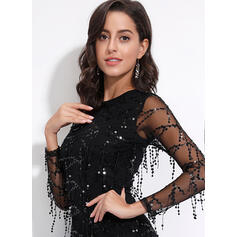 Sequins Long Sleeves Bodycon Above Knee Little Black/Party/Elegant Dresses