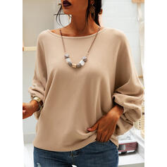 Solid Round Neck Casual Loose Sweaters