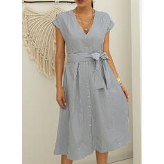 Striped Short Sleeves A-line Skater Casual Midi Dresses
