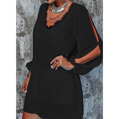 Lace/Solid Long Sleeves/Split Sleeve Shift Above Knee Little Black/Casual/Vacation Tunic Dresses