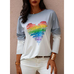 Print Gradient Heart Round Neck Long Sleeves Sweatshirt