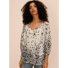 Print V-Neck 3/4 Sleeves Casual Blouses
