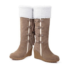 Women's PU Wedge Heel Mid-Calf Boots Snow Boots With Lace-up Tassel Button Colorblock shoes