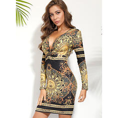 Print Long Sleeves Bodycon Knee Length Vintage Pencil Dresses