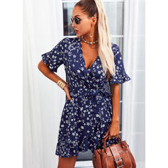 Print/Floral Short Sleeves A-line Above Knee Casual Wrap/Skater Dresses