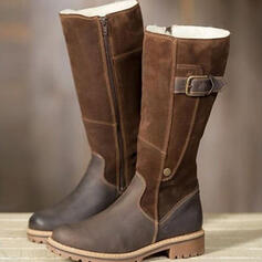 Women's Suede Chunky Heel Mid-Calf Boots Snow Boots Martin Boots Round Toe With Buckle Solid Color shoes