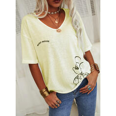 Figure Print V-Neck 1/2 Sleeves T-shirts