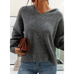 Solid Chunky knit Hooded Casual Sweaters
