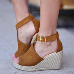 Women's Fabric Wedge Heel Sandals Wedges With Buckle shoes