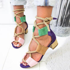 Women's Leatherette Chunky Heel Sandals Pumps Peep Toe With Lace-up shoes