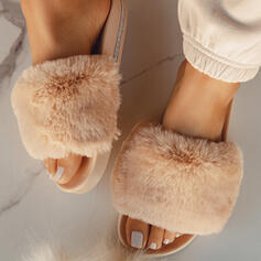 Women's Leatherette Flat Heel Sandals Flats Slingbacks Slippers With Faux-Fur shoes