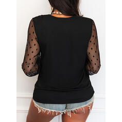 Solid Lace PolkaDot V-Neck Long Sleeves Elegant Blouses