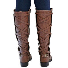 Women's Leatherette Low Heel Boots With Zipper shoes