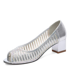 Women's Leatherette Mesh Low Heel Closed Toe