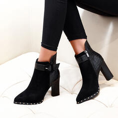 Women's Suede Chunky Heel Boots Pointed Toe With Buckle Zipper shoes