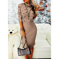 Print Long Sleeves Bodycon Pencil Casual Midi Dresses