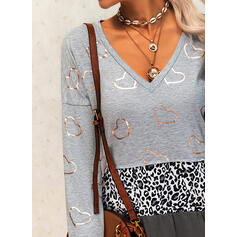 Print Leopard Heart V-Neck Long Sleeves Casual Blouses
