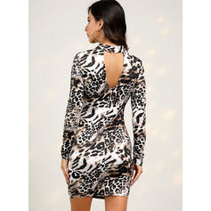Leopard Long Sleeves Bodycon Above Knee Casual/Elegant Dresses
