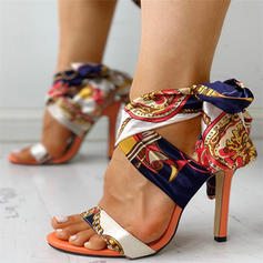 Women's Fabric Stiletto Heel Sandals Pumps Peep Toe With Ribbon Tie shoes