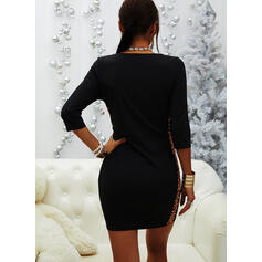 Color Block/Leopard Long Sleeves Bodycon Above Knee Casual Dresses