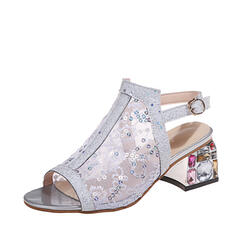 Women's PU Chunky Heel Sandals Heels Round Toe With Rhinestone Crystal Applique shoes