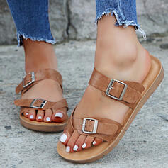 Women's Leatherette Flat Heel Sandals Peep Toe Slippers With Buckle shoes