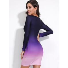 Tie Dye Long Sleeves Bodycon Knee Length Casual Dresses