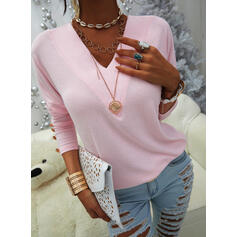 Solid V-Neck Long Sleeves Sweatshirt