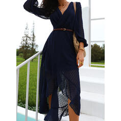 Solid Long Sleeves/Lantern Sleeve A-line Asymmetrical Casual Skater Dresses