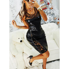 Lace/Solid Sleeveless Bodycon Knee Length Little Black/Party/Elegant Dresses
