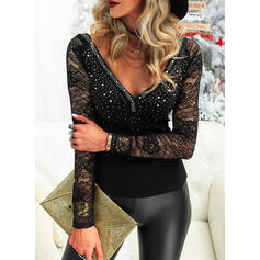 Lace Sequins V-Neck Long Sleeves Casual Sexy Blouses