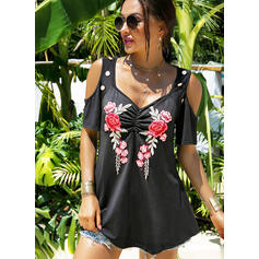 Print Floral Cold Shoulder Short Sleeves Button Up Casual Blouses