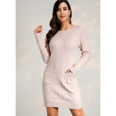 Solid Cable-knit Chunky knit One Shoulder Casual Long Tight Sweater Dress