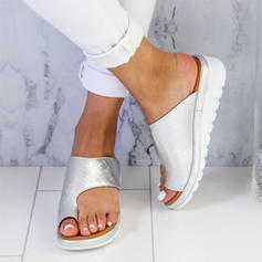 Leatherette Wedge Heel Sandals Wedges Slippers Toe Ring Heels With Others shoes