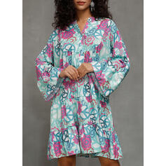 Print 3/4 Sleeves Shift Knee Length Casual/Vacation Tunic Dresses