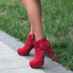 Women's PU Chunky Heel Ankle Boots Round Toe With Solid Color shoes