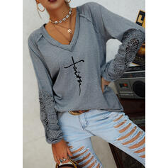 Print Lace Figure V-Neck Long Sleeves Casual Blouses