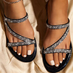 Women's PU Flat Heel Sandals Flats Peep Toe Slippers With Rhinestone Hollow-out shoes