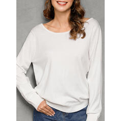 Solid Lace Round Neck Sexy Sweaters