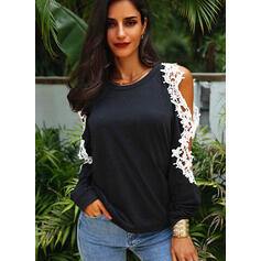 Solid Lace Cold Shoulder Long Sleeves Casual Elegant Blouses