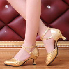 Women's Ballroom Swing Heels Leatherette With Buckle Sequin Latin
