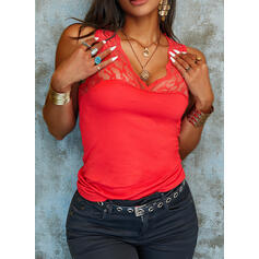 Solid Lace V-Neck Sleeveless Sexy Tank Tops