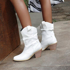 Women's PU Chunky Heel Martin Boots Pointed Toe With Solid Color shoes