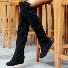 Women's Suede Wedge Heel Knee High Boots Round Toe With Solid Color shoes