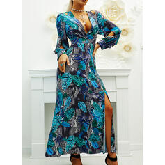 Print Long Sleeves A-line Skater Party Maxi Dresses