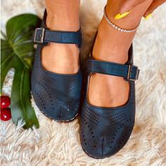 Women's PU Flat Heel Flats Square Toe With Buckle Hollow-out shoes