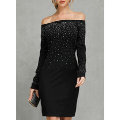 Sequins/Solid Long Sleeves Bodycon Above Knee Casual Dresses